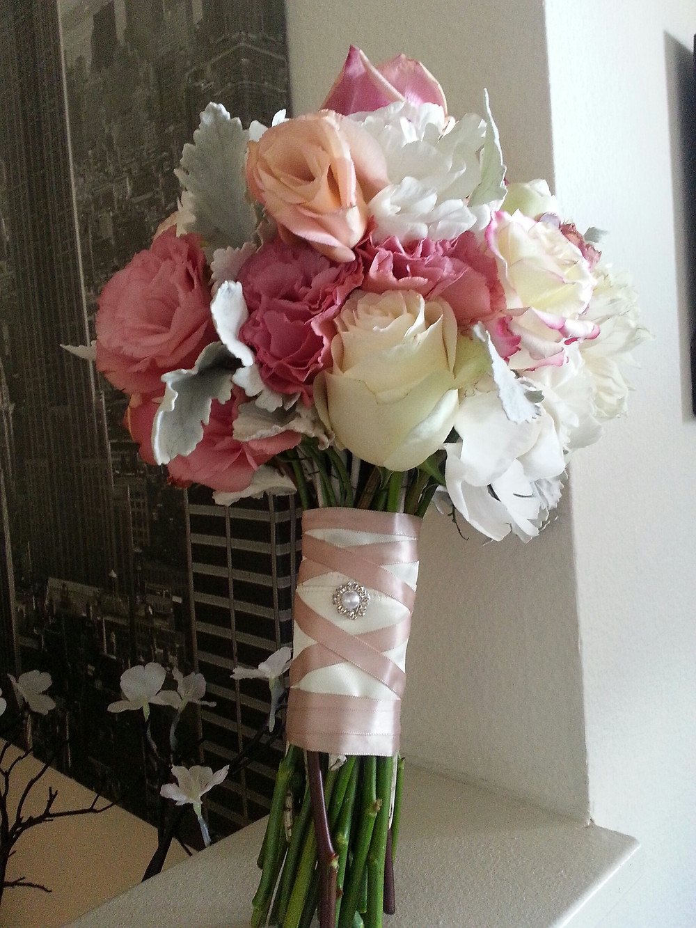 Roses Peony Dusty Miller bridal bouquet by Dolce Vita Events