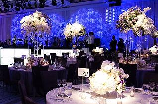 Glam wedding reception lighting