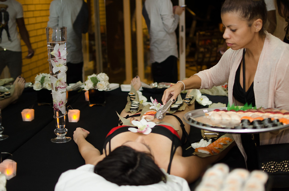 Dolce Vita Event's preps live sushi model for private event