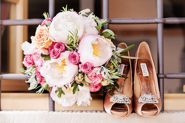 Peopny bridal bouquet and Badgley Mischka wedding shoes Dolce Vita Events style. Photo by Angelica Bracinni