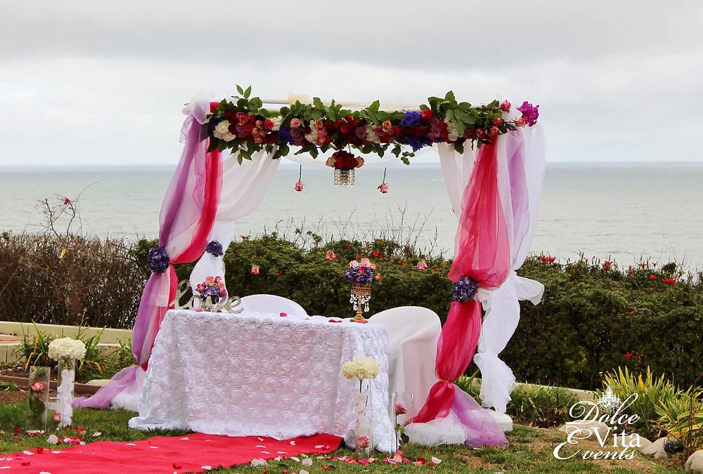 Custom chuppah floral canopy for beach wedding