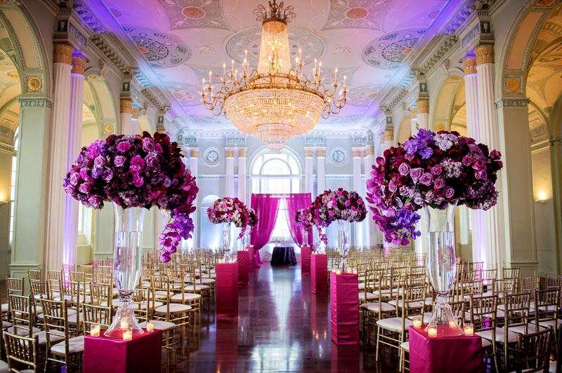 Glamorous Biltmore Hotel Chandelier Purple Tall Centerpiece Wedding Dolce vita Events Blog