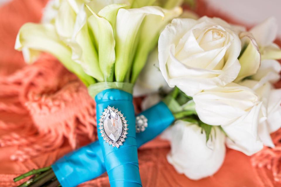 mini cala lily bridal and white rose toss bouquet with rhinestone detail