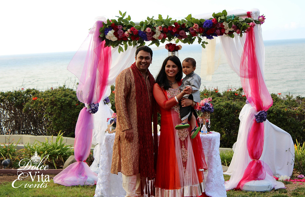 Indian wedding engagement custom bright bold decor canopy