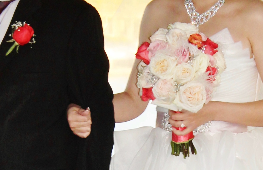 Cream, Blush, Coral peony and garden rose bridal bouquet