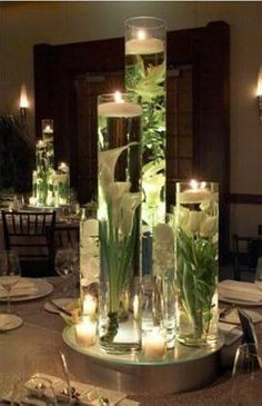 Submerged White Cala Lily Tulip candle cylinder centerpieces Dolce Vita Events style