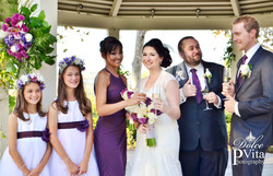 Purple tropical wedding flowers