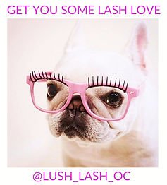 Bulldog puppy lash extensions pink glasses by Lush Lash OC mobile lash extensions Newport Beach
