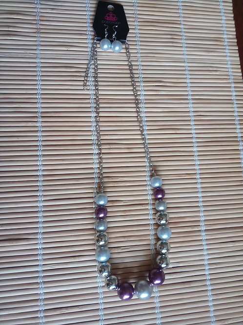 Blue & Purple Beaded Necklace/Earrings Set
