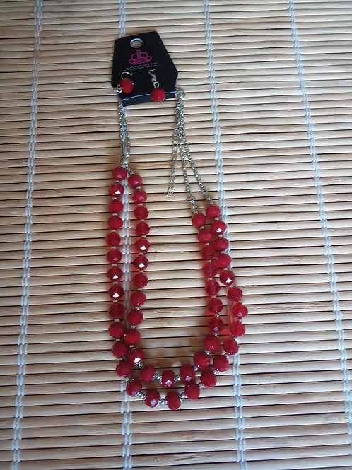 Red Beaded Necklace/Earrings Set