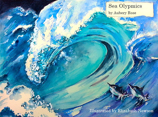 Elisabeth Newson front book cover The Sea Olympics by Aubery Rose.