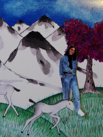 """""""In the meadows, in front of the white mountains, there lived a sky-blue foal. His name was a starlet jumper."""""""