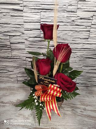 Cesto rosas rojas