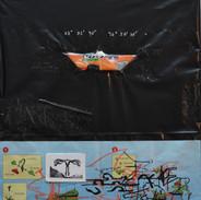 Marcelo Gandhi | Diáspora Africana | 2018 | colagem e desenho sobre saco de lixo preto | 40x30cm