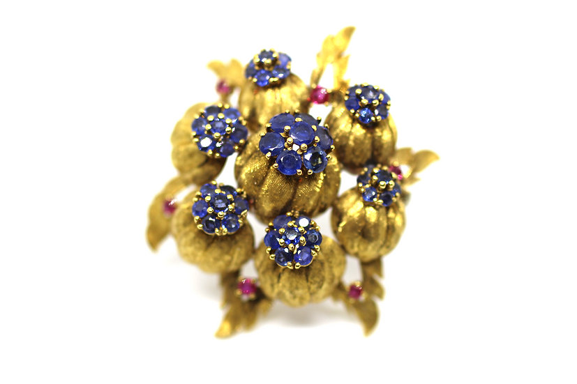 Ruby & Sapphire Antique Brooch