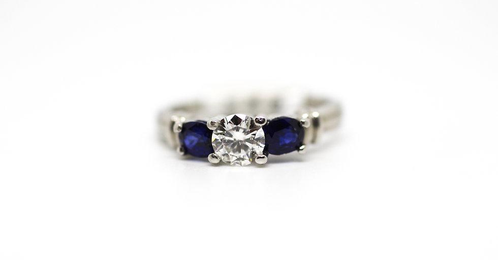 3 Stone Sapphire Diamond Ring