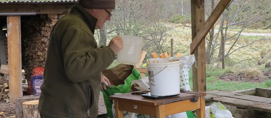 Desmond measuring out seed batches