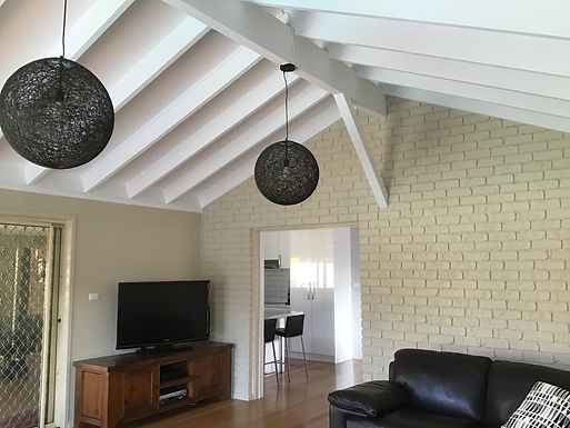 Livingroom-Stained Ceiling and Brick Wall Painting