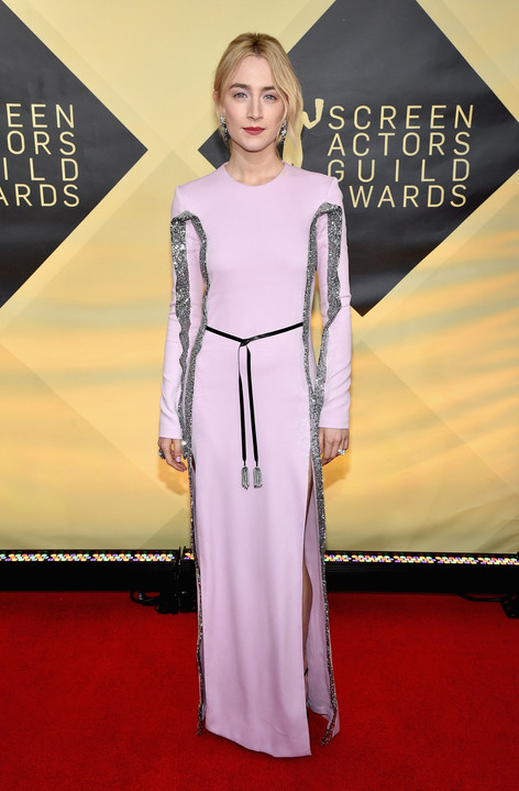 Saoirse Ronan Refreshes the Sleeved Gown at the SAG Awards