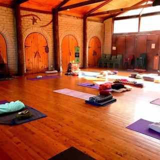 beautiful light filled Yoga room at The