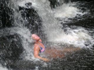 Fran under the waterfall at Bunyip Falls