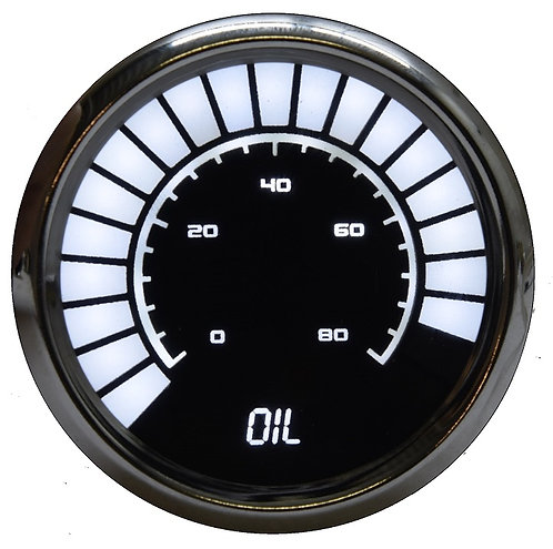 Oil Pressure Analog LED Bargraph in Chrome Bezel