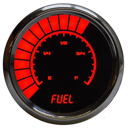 Fuel Level Analog LED Bargarph Gauge in Chrome Bezel