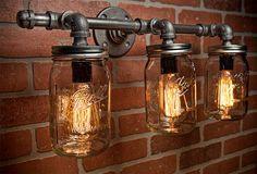Industrial Mason Jar Vanity Lighting