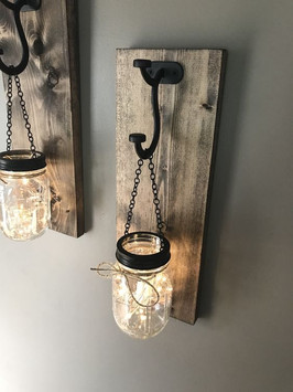 Pallet Mason Jar Sconce with Star Lights