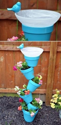 Stacked Planter Pots and Bird