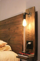 Floating Night Stand with Industrial Light and Outlet USB