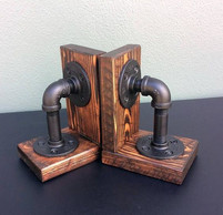 Industrial Wood and Pipe Bookends