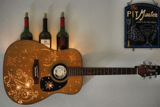 Acoustic Guitar Wine Bottle Holder