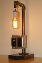 Industrial Table Light with Outlet and USB