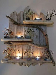 Live Edge Candle Holder with Succelents.