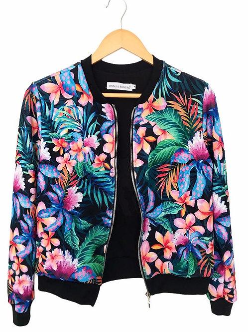 Black Tropical bomber jacket