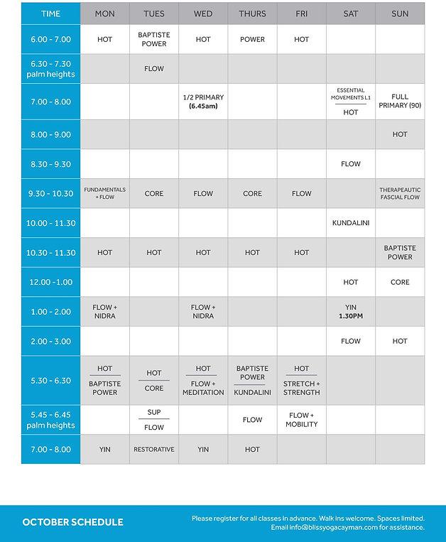 October Class Schedule