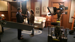 On the set of a T.V