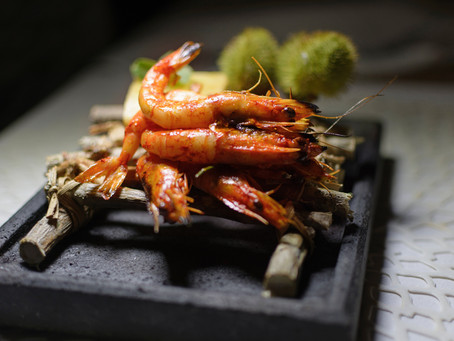 Barbecue Thai Style Prawns.