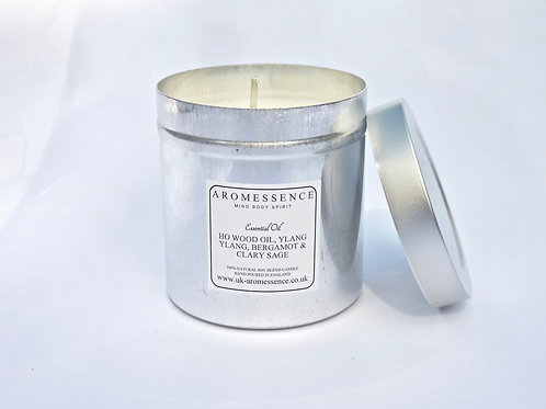 Ho Wood, Ylang Ylang, Bergamot & Clary Sage Candle in Tin