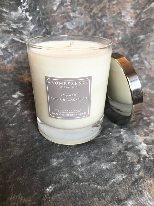 Amber & Tonka Bean Glass Candle
