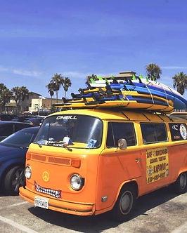 California on the road surf van