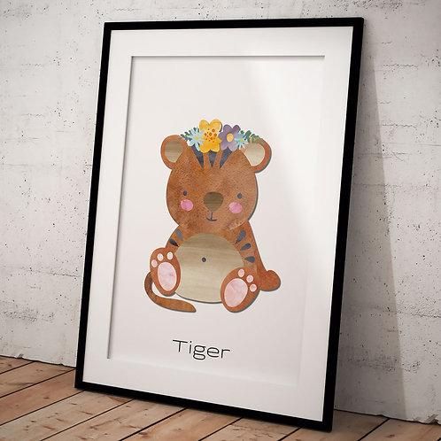 Børne plakat med tiger, hvid baggrund og sort ramme A3