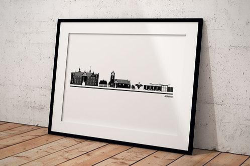 Auning plakat i hvid med sort ramme 50 x 70 cm