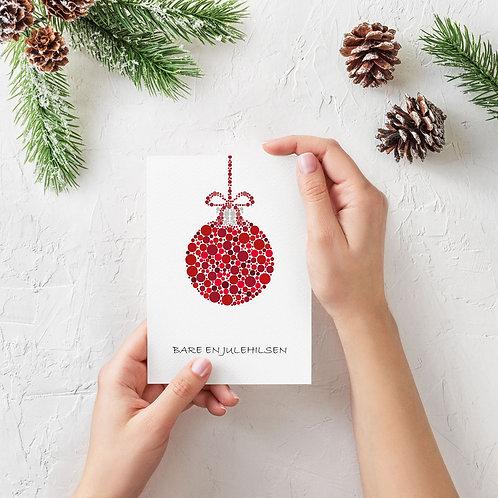 Julekort med rød julekugle inkl. kuvert