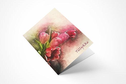 Lykønskningskort med tulipaner