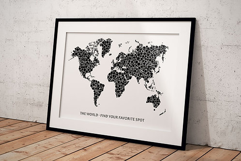 Plakat The world A3 - med sorte el. hvide prikker