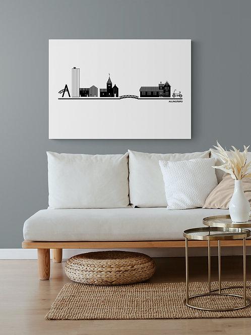 Byplakat Allingåbro i hvid 50 x 70 cm