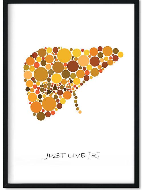 Citat plakat Just live(r) i sort ramme