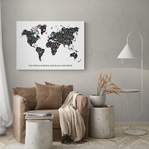 Verdenskort The world is never just black and white 50 x 70 cm